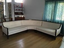 Classic French Provincial Sectional Sofa Hand Carved Mahogany Vtg Mid Century