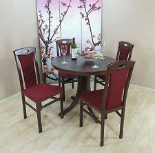 Essgruppe 5-tlg. Auszugtisch rund Stühle Esstisch Farbe: Nuss-Dunkel/Bordeauxrot