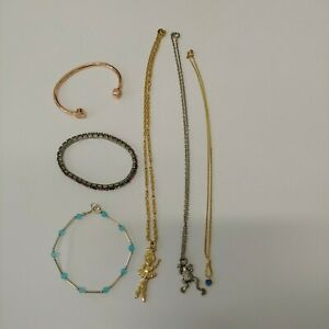 Lot Girls Necklaces and Bracelets Dancing Girl Avon Frog Blue Stone Gold Silver
