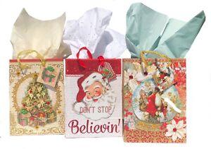 Punch Studio 62307-62444-62424 Set 3 Small Gift Bags 3D Glitter & Gem Embellishe
