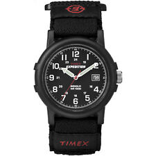 "Timex T40011, Men's ""Expedition Camper"" Black Wrapstrap Watch, Indiglo, Date"