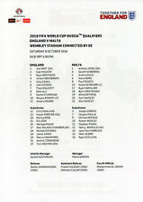 England v. Malta 8/10/2016 official double sided colour teamsheet