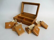Antique English Games Box with Bone Counters, Fitted Interior Olive Wood