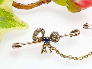 Antique 18 CT + 9 CT Rose Yellow Gold Bow Brooch, Sapphire + Pearls, Gift Boxed