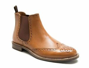 Red Tape Downton Brogue Chelsea Leather Boots Tan