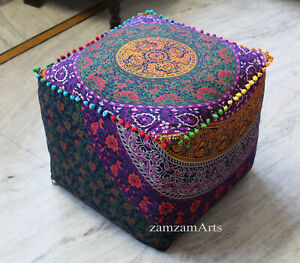 """Indian Handmade Floral 18"""" Square Ottoman Pouf Cover Footstool Seat Covers Throw"""