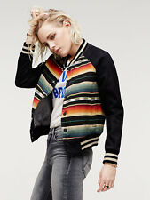 Mother Denim Letterman Jacket Printed Black Bomber Free People Opening Ceremony