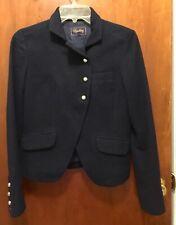Woman MADEWELL BUCKLEY TAILORS Navy Blue Gold Button Blazer Jacket Sz 0 Wool