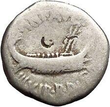 MARK ANTONY Cleopatra Lover 32BCActium Ancient Silver Roman Coin LEG XIII i52519