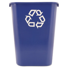 Rubbermaid Commercial Recycling Bin Plastic Container Trash Can 10 Gallon Blue
