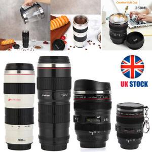 Camera Lens Shaped Thermal Cup Water Bottle Stainless Steel Coffee Tea Mug w/Lid