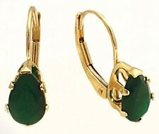 GENUINE 1.87 carats GREEN ONYX 14k Yellow Gold Lever Back *FREE SHIPPING*