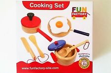 Kids Pretend Play 9pcs Toy Wooden Food Pots Pans Kitchen Cooking Set Cubby House