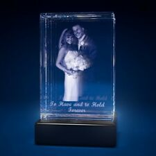 3D Laser Crystal Glass Personalized Etched Engrave Gift Anniversary Portrait L