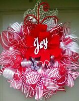 "Handmade Deco Mesh Christmas JOY Wreath 25"" Candy Cane Winter Holiday Door Decor"