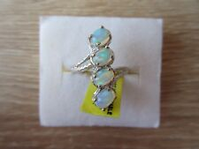 Ethiopian Welo Opal Ring Platinum Overlay Sterling Silver Size 6