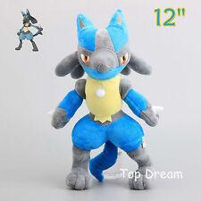 14'' Pokemon Lucario Plush Toy Soft Stuffed Doll 35cm Teddy Kids Xmas Gift