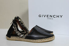 sz 8 / 38 Givenchy Black Leather Chain Ankle D'Orsay Espadrilles Flat Shoes