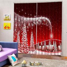 2Pc/Set Window Bath Curtain Drape Shades with Hook Ring - Christmas Theme