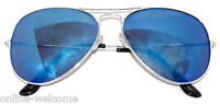 SILVER AVIATOR STYLE METAL FRAME SUNGLASSES SHADES UV400 MIRRORED LENS BLUE