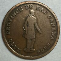 1837 One Penny Deux Sous Quebec  Bank Token Rare #ZS124