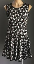"Handmade Black, Brown & White ""Ghoul & Tombstone"" Print Skater Dress Size 12/14"