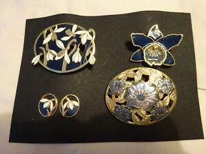 Navy Cloisonne Enamel Snowdrop Flower Brooch set matching earrings +2 brooches