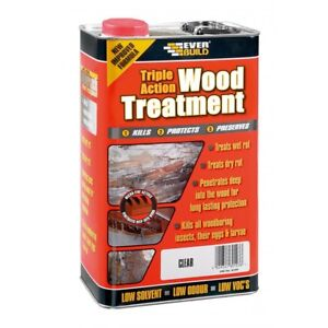 Everbuild Triple Action Wood Treatment | Preserver Dry & Wet Rot Decay | 5L