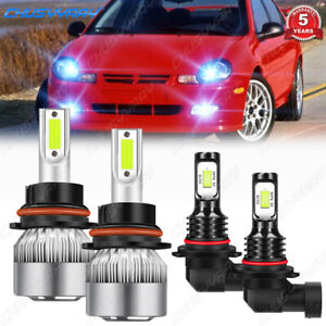 For 2001-2002 Dodge Neon LED Headligt Foglight Combo Blubs 9007+9145 8000K Blue