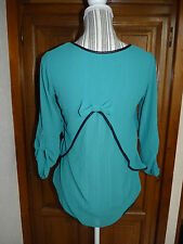 MADE IN ITALY Blouse T-shirt 36/38 haut VERT faux cuir