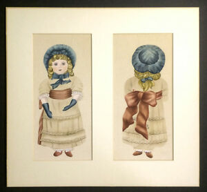 Vintage Hand Painted Cloth Doll Halves Mounted, Front & Back, Signed L.S. 17x18""