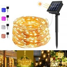 5 Colors 8 Modes 20m 200 LED Solar String Light Copper Wire Fairy Garden Lights