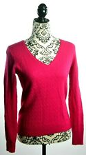 J. CREW Women's Long Sleeve V-Neck Wool Cashmere Cable Knit Sweater SMALL Pink