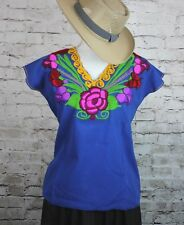 MEDIUM ROYAL BLUE OAXACA MANTA HAND EMBROIDERED MEXICAN BLOUSE TOP 100% COTTON