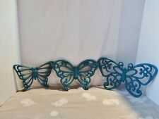 Vtg Homco Set Of 3 Turquoise Plastic Butterflies Decor Wall Hanging Faux Wicker.