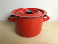 Mid Century Finel Arabia 1.5 Liter Small Stock Pot with LID ~RED~