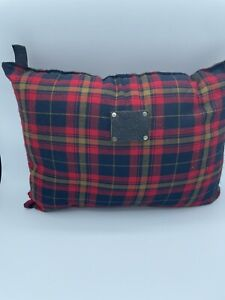 "WILL LEATHER GOODS Tan Red Plaid Throw Travel Pillow Purse Cushion 11"" X14"""
