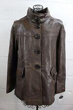 $1035 VAKKO Neiman Brown Soft Lamb Leather Large Button Jacket Coat XL NWT
