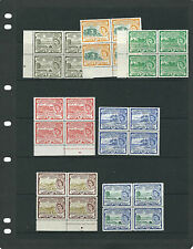ST. KITTS & NEVIS 1954 QEII definitives (SG 106a//117) 7 misc blocks of 4 VF MNH
