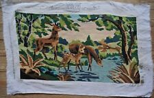 Vintage Deer By Stream Stag Doe  Needlepoint Tapestry Canvas