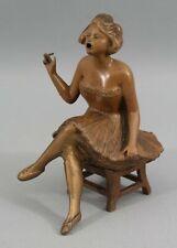 Antique Art Deco Spelter Metal Cigarette Smoking Woman Incense Burner, NR