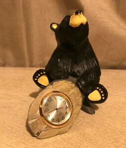 "Black Bear Desk Clock Bear Tree Trunk Montana Jeff Flemming Bearfoots 5"""
