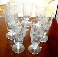 Set of 7 Parisian Pheasant Iced Tea Glasses by Tiffin Franciscan - Ships Free