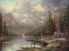 Mountain Majesty - Cottage, Canoes, Stream etc. - Thomas Kinkade Dealer Postcard