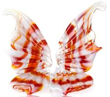 Butterfly Glass Figurine, Blown Art, White and Red Animal Ornament