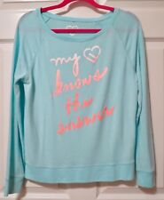 Live Love Dream Sweatshirt Wide Neck Long Sleeve Aqua Junior's Size Medium
