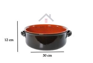 Pentola Tegame casseruola in terracotta 30 cm con manico argilla coccio Nuovo