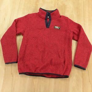 LL BEAN kids sweater fleece MEDIUM 10-12 red item 3000193 t snap