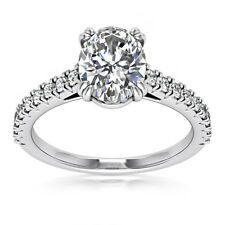 Solitaire 1.18 Carat SI1/H Oval Cut Diamond Engagement Ring White Gold