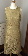 Michael Kors Collection  Gold Lace Fitted Dress Dress Size US8 UK 12 Worn Twice